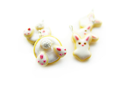 Cotton Tail White Rabbit Bun Bun Sugar Cookie Charm - Sucre Sucre Miniatures