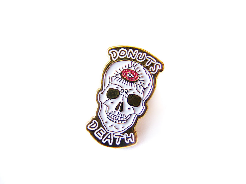 2016 Donuts or Death Skull Enamel Pin - Sucre Sucre Miniatures