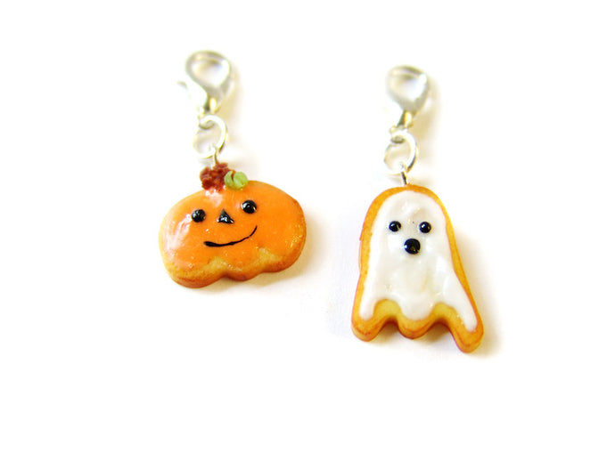 Halloween Classic Ghost + Pumpkin Cookie Charm - Sucre Sucre Miniatures