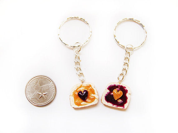 Peanut Butter and Jelly PBJ BFF Keychains Set - Sucre Sucre Miniatures