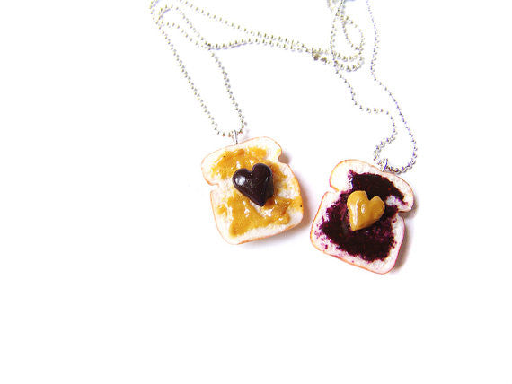 Peanut Butter and Jelly PBJ BFF Necklace Set - Sucre Sucre Miniatures