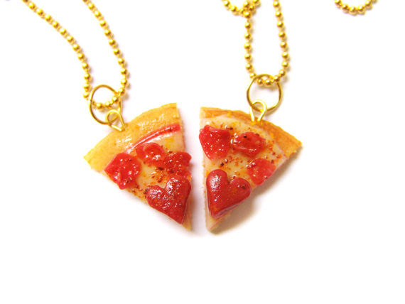 Heart Pizza BFF Necklace Set - Sucre Sucre Miniatures