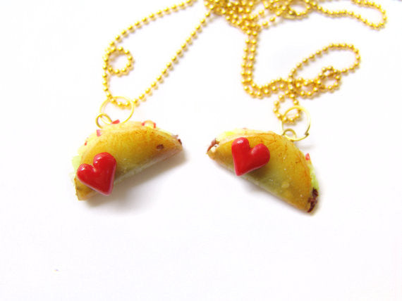 Heart Taco BFF Necklace Set - Sucre Sucre Miniatures