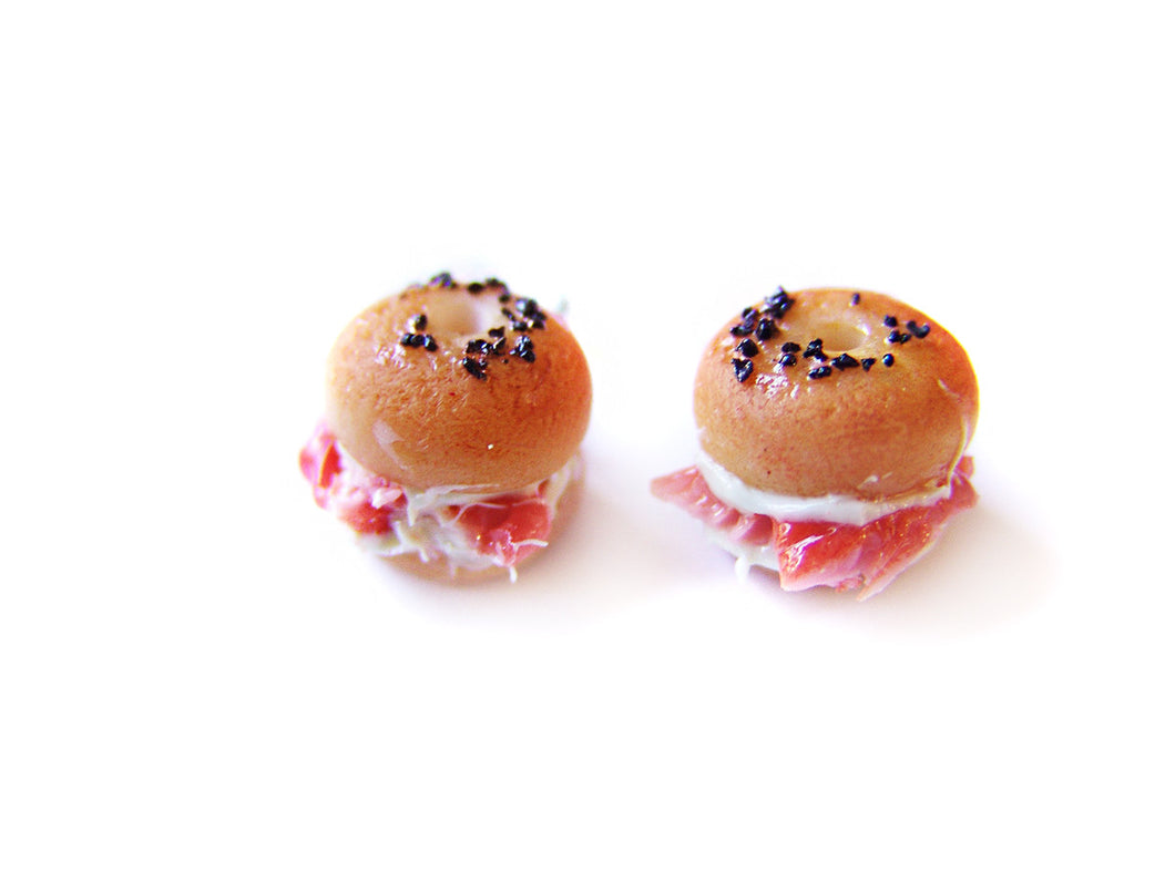 Salmon Bagel Earrings - Sucre Sucre Miniatures