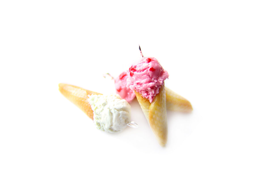 Strawberry Ice Cream Cone Charm - Sucre Sucre Miniatures