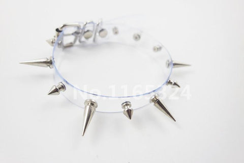 Transparent Plastic Choker with Metal Spikes - Hale Satin