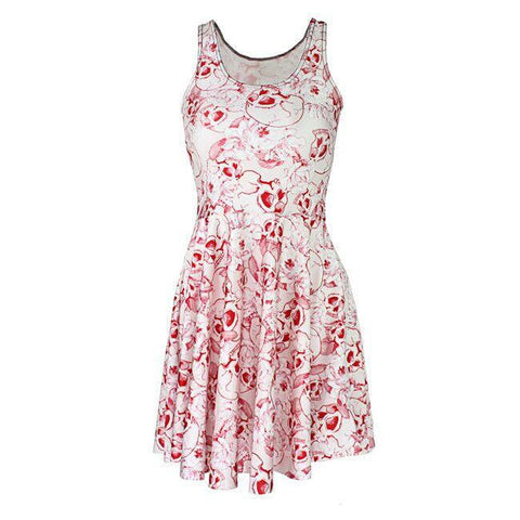 White Dress with Pink Skull Print - Hale Satin