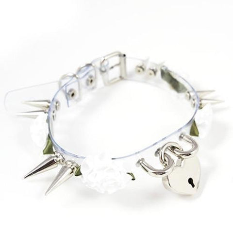 Transparent Spiked Choker with White Roses and Locket - Hale Satin