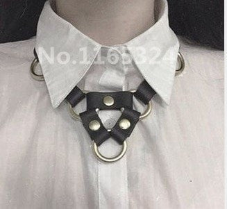 Leather and Metal O-Ring Collar Necklace - Hale Satin