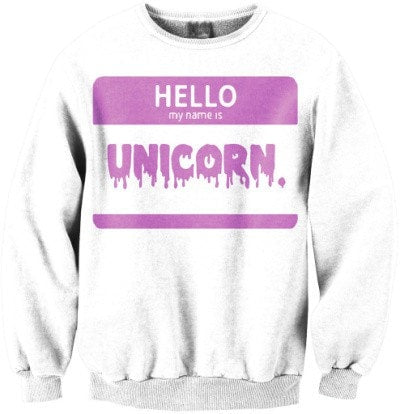 """Hello My Name Is Unicorn"" Print Pullover Sweatshirt - Hale Satin"