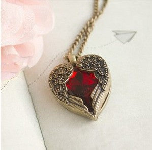 Ruby Heart Pendant With Gold Wings Detai - Hale Satin