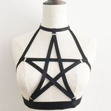 Pentagram Body Harness with Choker - Hale Satin