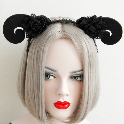 Black She-Devil Rams Horns and Flowers Headband - Hale Satin