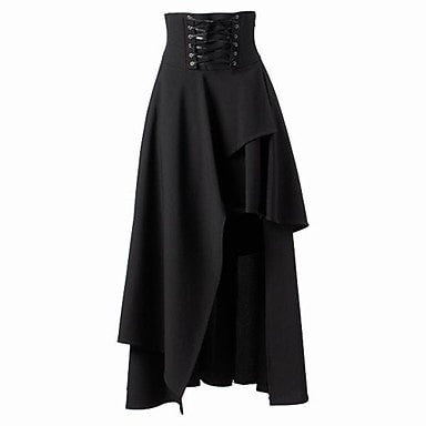 High Waisted Black Tiered Skirt With Corset Detail - Hale Satin