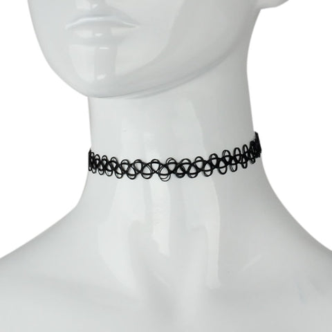 90s Style Black Tattoo Choker Necklace - Hale Satin