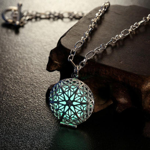 Luminous Green and Silver Pendant Charm Locket Necklace - Hale Satin