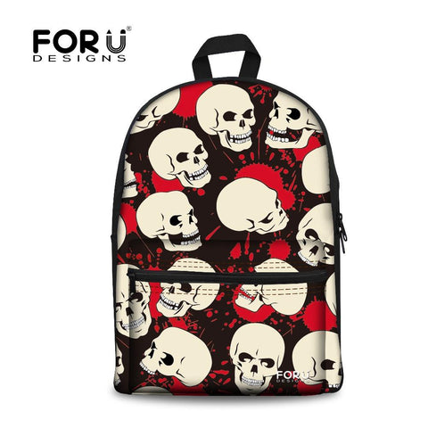 Red and White Skull Print Backpack - Hale Satin