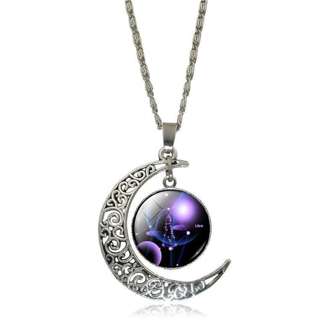 Silver Waning Cresent Moon Pendant with Purple Galaxy Orb - Hale Satin