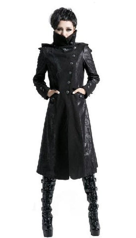 Black Trench Coat with High Collar and Elf Hood - Hale Satin