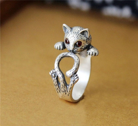 Adjustable Cat Ring with Red Jewel Eyes - Hale Satin