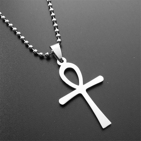 Silver Egyptian Ankh Pendant Necklace