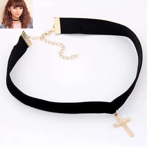 Black Velvet Choker with Choice of Pentagram, Cross or Star - Hale Satin