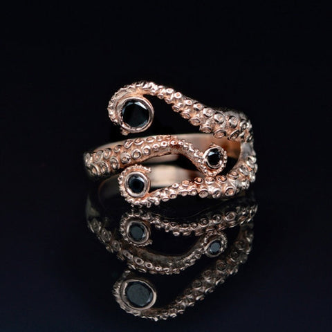 Adjustable Rose Gold Tentacle Ring - Hale Satin