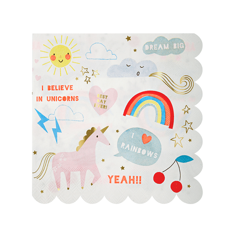 Meri Meri / Rainbow & Unicorn design servietten (papier) - Oh My Dear