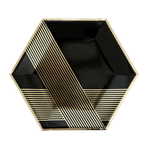 Harlow & Grey | Black & Gold Hexagon kartonnen bordjes (wegwerpservies) - Oh My Dear