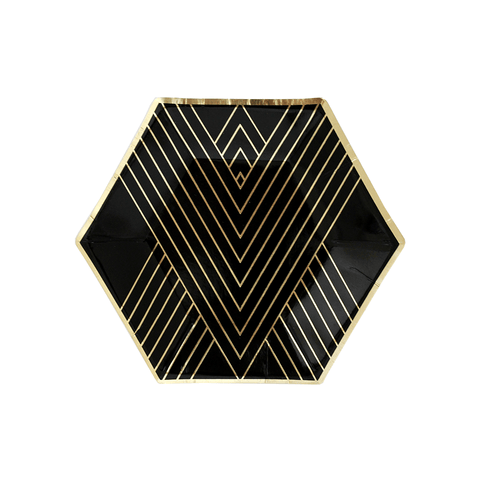 Harlow & Grey / Black & Gold Hexagon kartonnen bordjes (wegwerpservies) - Oh My Dear
