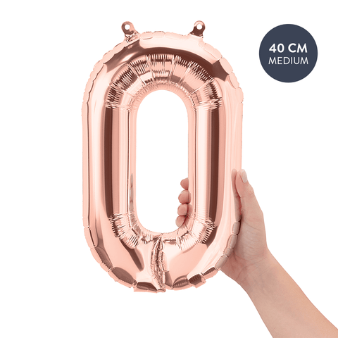 Koper cijferballon 0 (Copper - Rose Gold) - 40cm (Medium) - Oh My Dear