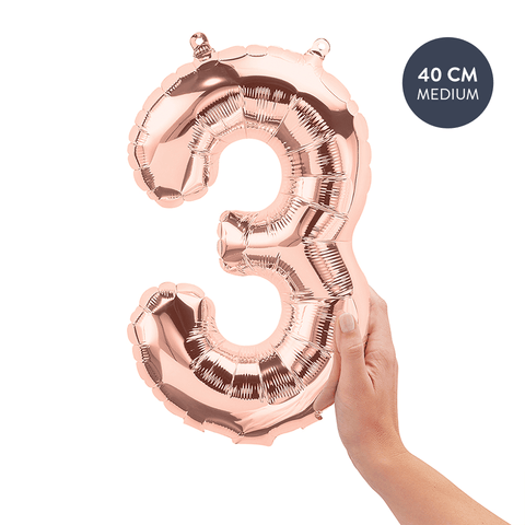 Koper cijferballon 3 (Copper - Rose Gold) - 40cm (Medium) - Oh My Dear