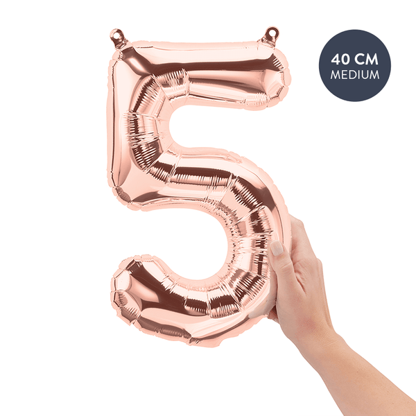 Koper cijferballon 5 (Copper - Rose Gold) - 40cm (Medium) - Oh My Dear