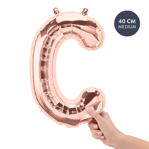 Koper letterballon C (Copper - Rose Gold) - 40cm (Medium) - Oh My Dear