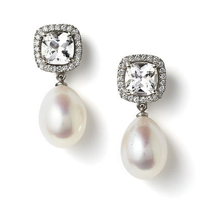 Mini Carnival white topaz, diamond & pearl earrings by Nigel Milne