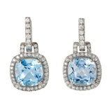 Carnival blue topaz & diamond earrings by Nigel Milne