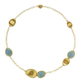 Lunaria 18ct yellow gold and aquamarine necklace by Marco Bicego