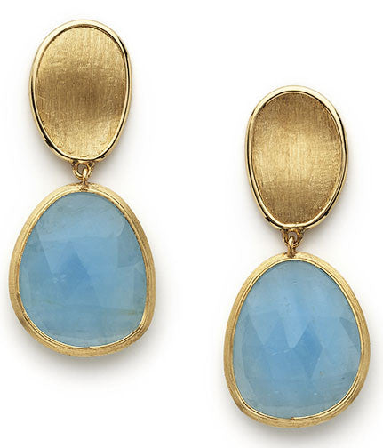 Lunaria 18ct yellow gold and aquamarine earrings by Marco Bicego