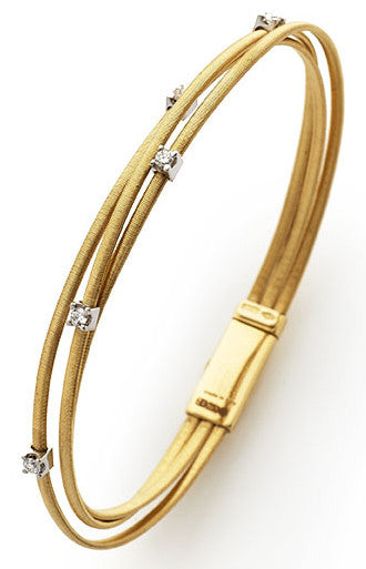 Goa three row diamond and yellow gold bracelet by Marco Bicego