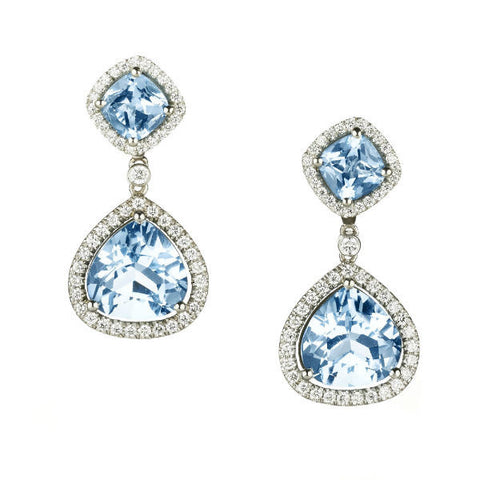 New Carnival blue and white topaz and diamond drop earrings by Nigel Milne