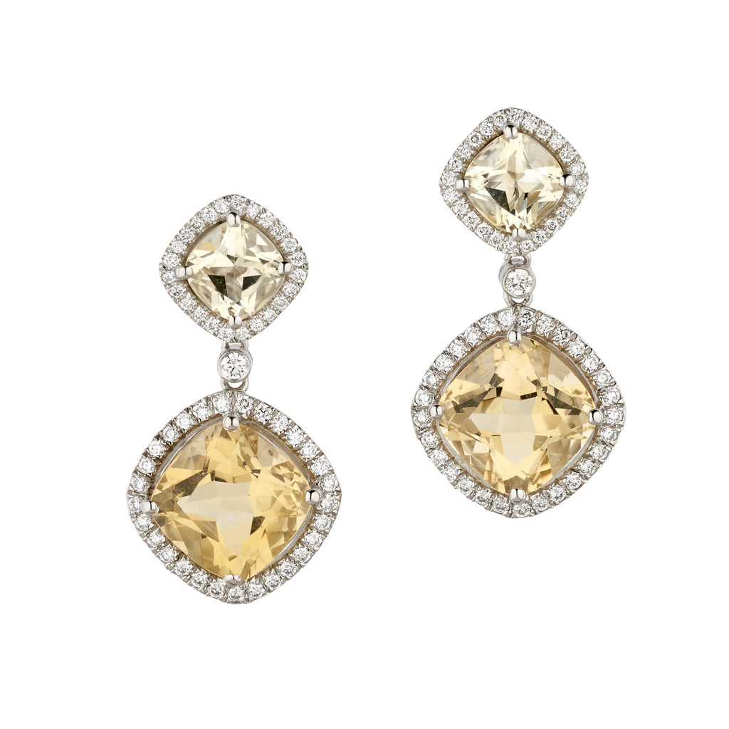 New Carnival citrine and diamond drop earrings by Nigel Milne