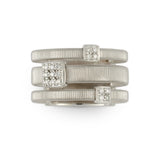 Masai 18ct white gold and diamond three row ring by Marco Bicego
