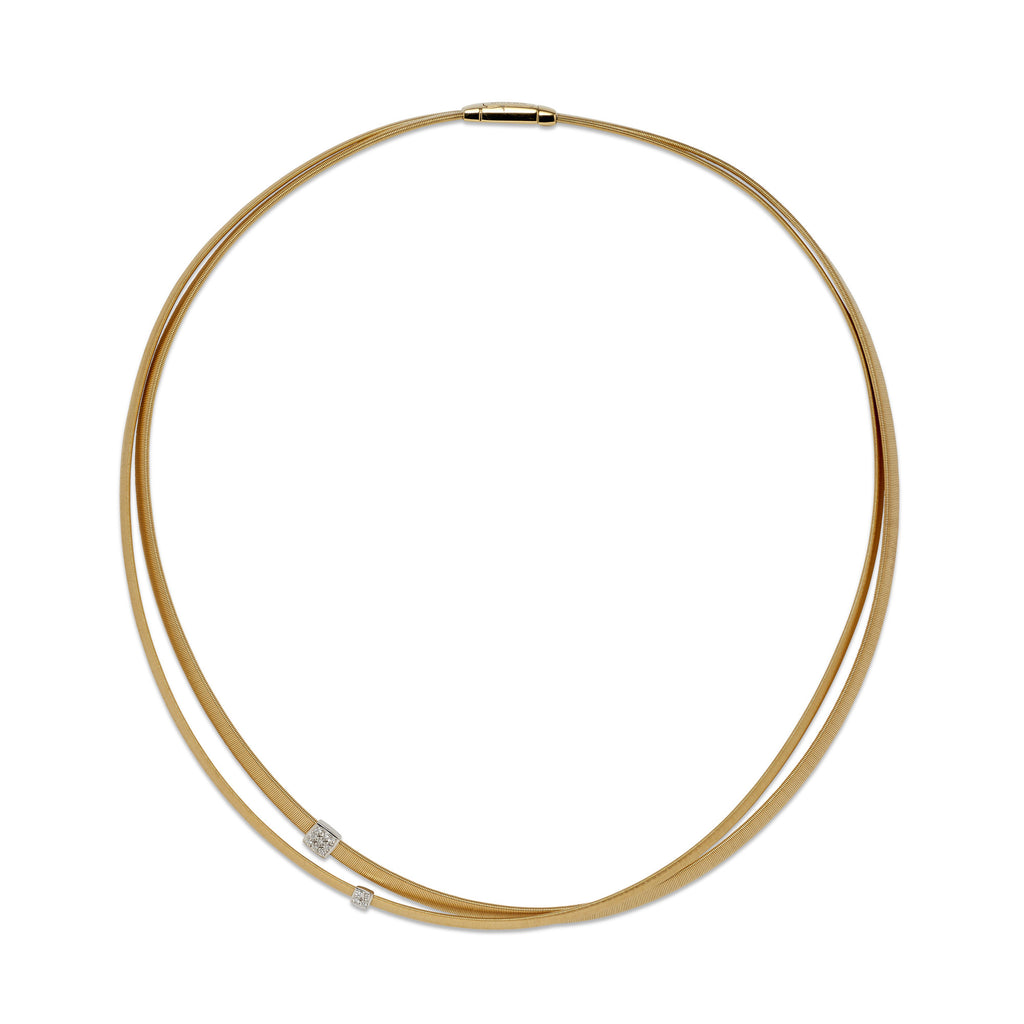 Masai 18ct yellow gold and diamond two row necklace by Marco Bicego