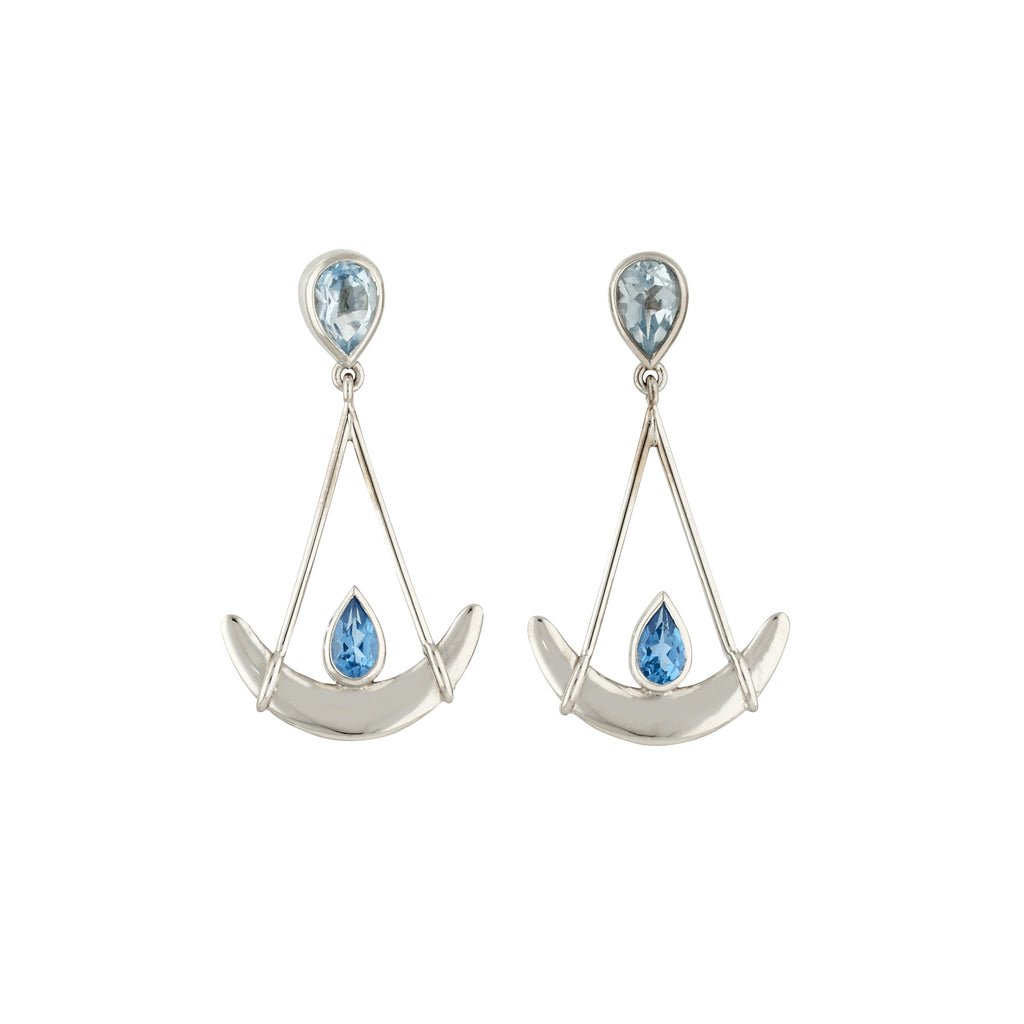 Joie de Vivre blue topaz earrings by Nigel Milne