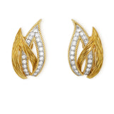 French 18ct gold and diamond open leaf earrings