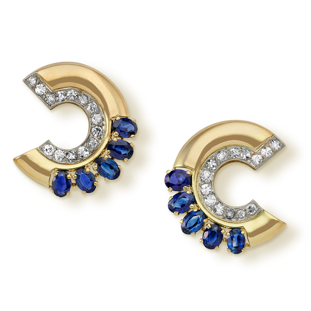 1940's sapphire and diamond earclips