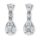 Navette, pear & brilliant cut diamond drop earrings for Nigel Milne