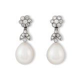 Diamond and pearl drop earrings (detachable)