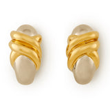 18ct yellow and white gold earclips by Hermes