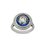 Brilliant cut diamond and calibre cut sapphire target engagement ring